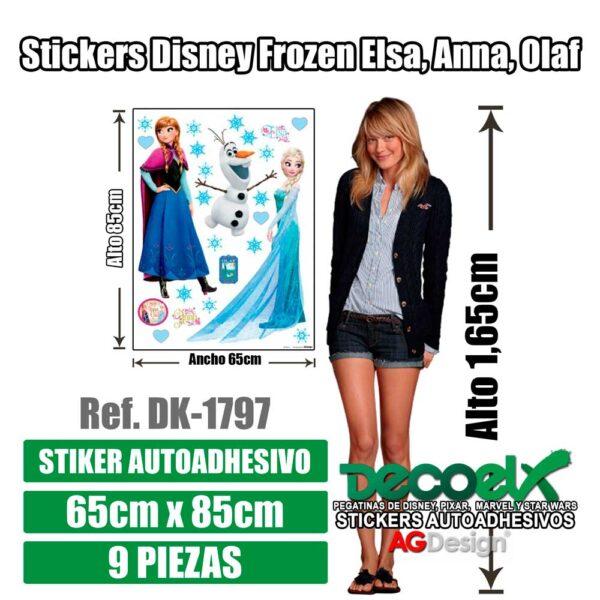 Detalles de Pegatina Disney Frozen Elsa Anna y Olaf DK-1797