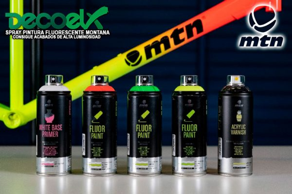 Spray mtn pro pintura fluor fondo blanco y barniz acrilico 80431918 400ml