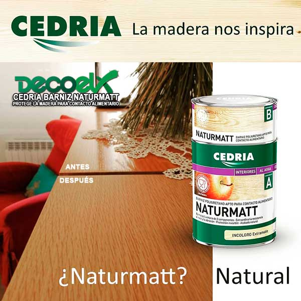 Antes-Después de aplicar barniz para madera mate cedria naturmatt