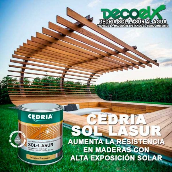 Cedria Sol Lasur para maderas con alta exposición solar.